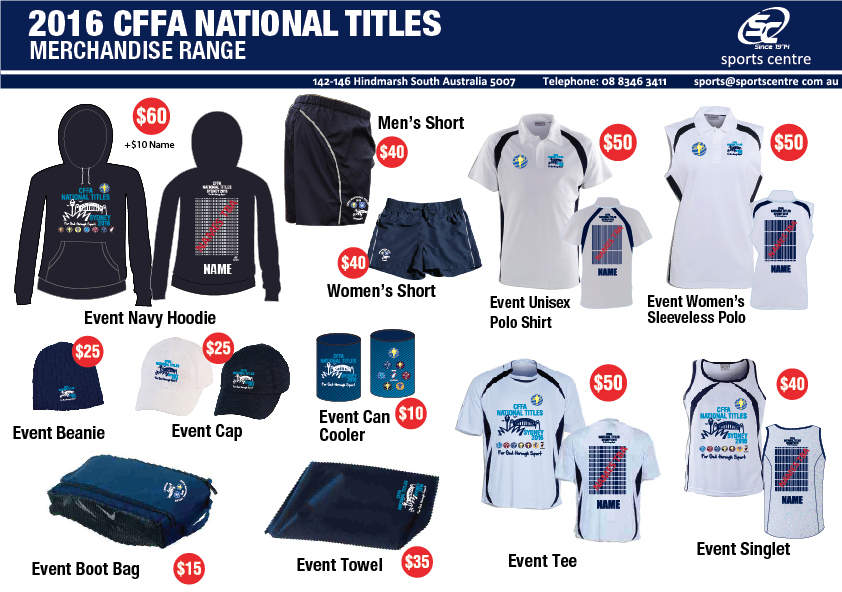 CFFA Merchandise For The 2016 National Titles