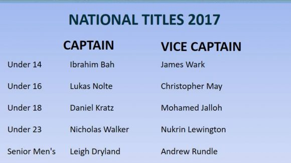 National Titles Captains & Vice Captains 2017