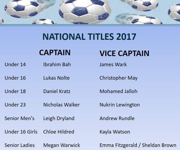 National Titles Captains & Vice Captains 2017