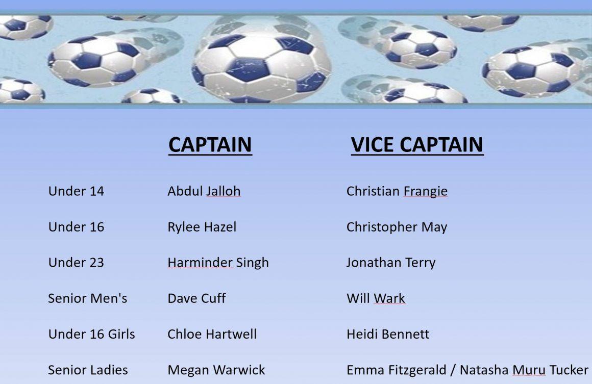 National Titles Captains & Vice Captains 2018